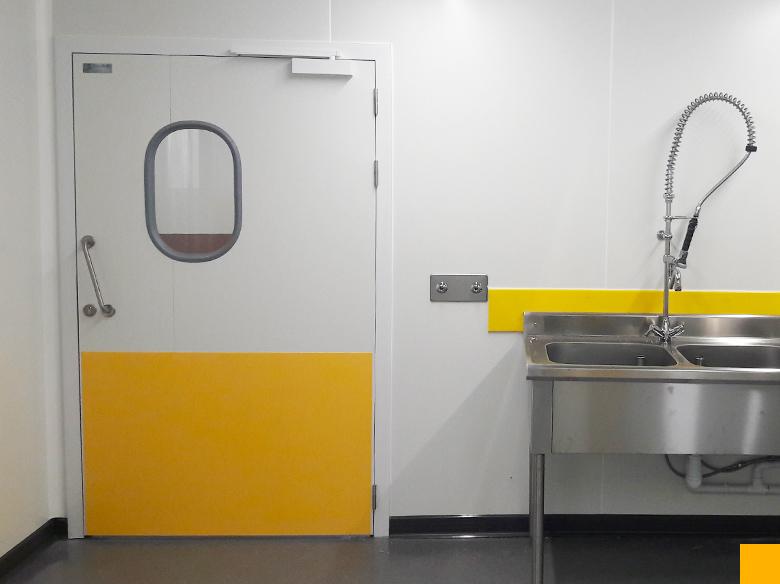 Portes isolées pour laboratoire, revêtement mural PVC pour laboratoire